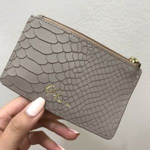 GiGi New York Mini Zip Embossed Python Card Case